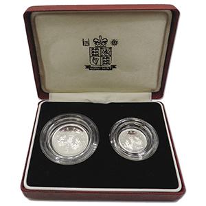 1990 Royal Mint Silver Proof Piedfort Pair 5p coins