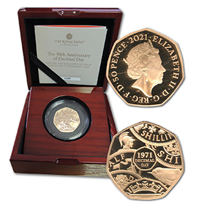 2021 50th Anniv Decimal Day Gold Proof 50p Coin (strike on the day)