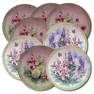 Lena Liu Flower Plates - Stunning Set of 8 Plates - Certificate of Authenticity Provided