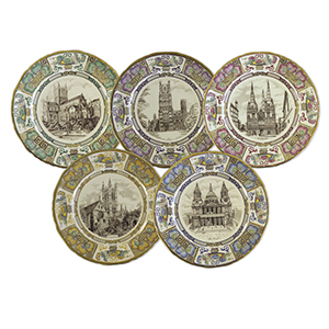Mason's Decorative Plates - Ironstone Cathedral Christmas Plates 1981 - Set of 5
