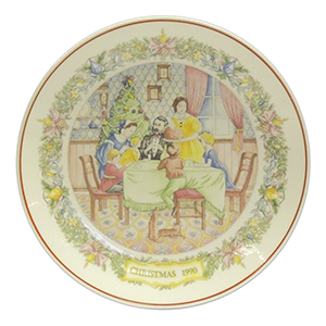 Wedgwood Christmas Collector Plat - Flaming the Pudding 1990