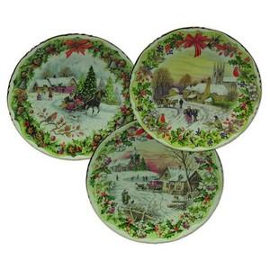 Bone China Christmas Plates - Set of 3