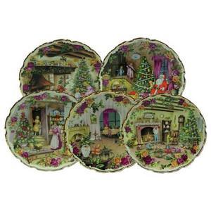 Bone China Christmas Plates - Set of 5