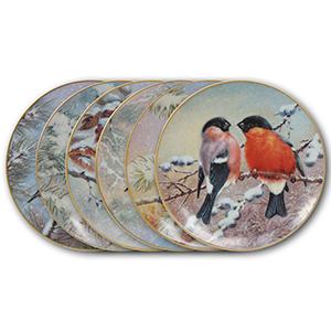 6 Bradford Birds in Wintertime Porcelain Plates