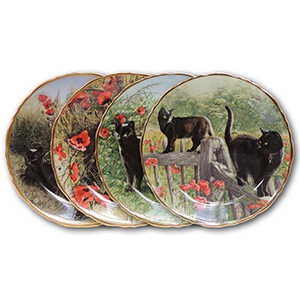 4 Davenport 'It's a Cat's Life'  Porcelain Plates
