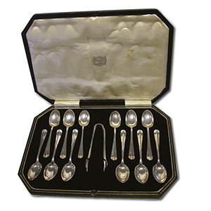 Set of 12 Silver Teaspoons & Sugar Tongs