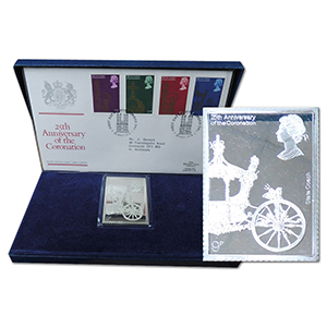 1978 Coronation 9p silver stamp