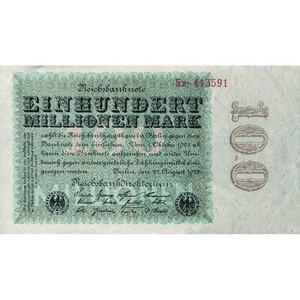 One hundred million mark Reichsbank bank note