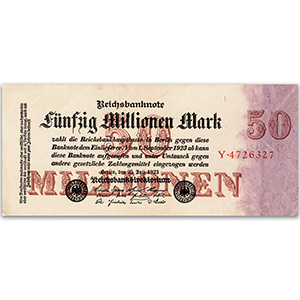 50 Million Mark Large Reichsbank Note - 1923