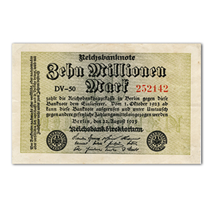 Ten Million Mark Reichsbank Banknote - 1923