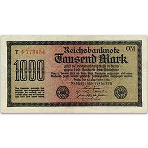 One Thousand Mark Reichsbank Banknote - 1922