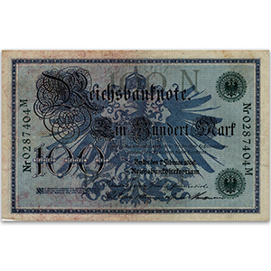 One Hundred Mark German Reichsbank Banknote - 1908