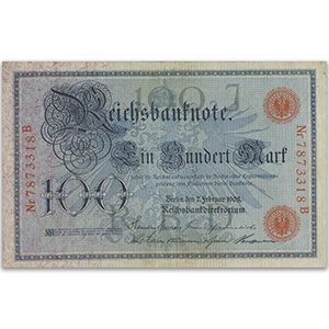 One Hundred Mark Reichsbank Note (Red Imprints) - 1908