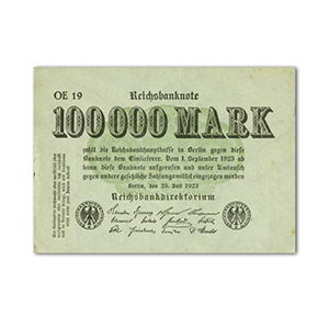 Hundred Thousand Reichsbank Small Note - 1923