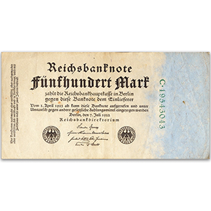 Five Hundred Mark Reichsbank Note - 1922
