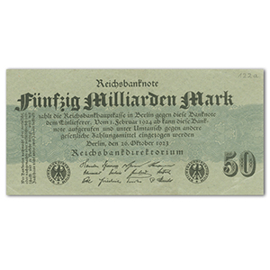 1923 50 Million Mark Reichsbank Note