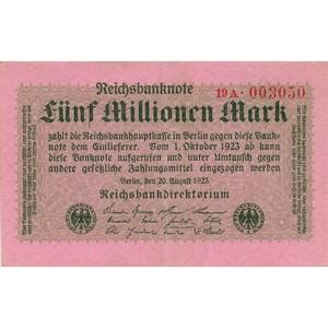 1923 Five Million Mark Reichsbank Note