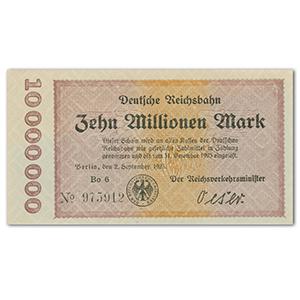 Ten Million Mark Deutsche Reichsbank Note - 1923