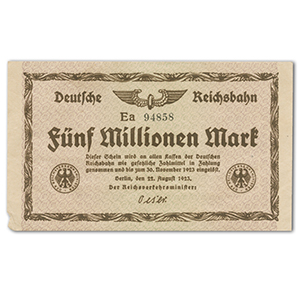 Five Million Mark Deutsche Reichsbank Note - 1923