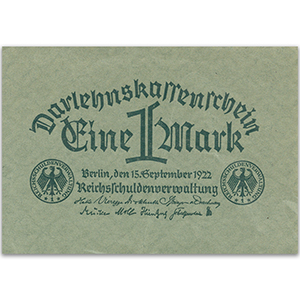 One Mark Darlehenskassenschein Note - 1922