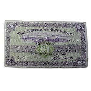 Guernsey 1965 £1.00 Banknote. Series E, VF-25.
