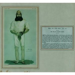 Framed Vanity Fair Chromolithograph of W.G. Grace - Dated 9 June 1877