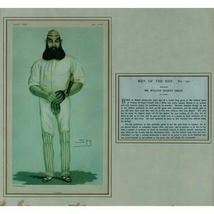 Framed Vanity Fair Chromolithograph of W.G. Grace - Dated 9 June 1877