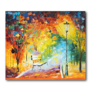 The Bench of Lost Love by Leonid Afremov Painting Recreation.