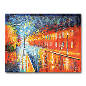 Blue Lights at Night by Leonid Afremov Painting Recreation.