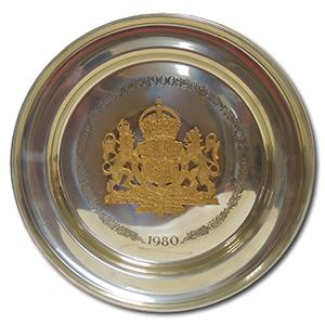 Pewter Plate - The Queen Mother's 80th Birthday