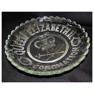 Shallow Glass Bowl - Queen Elizabeth II Coronation 1953