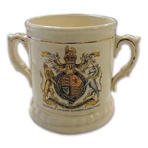 Brentleigh Ware Pottery Loving Cup - Queen Elizabeth II Coronation 1953