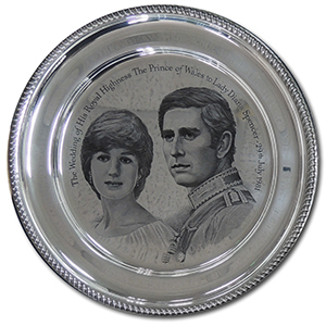 Sterling Silver Commemorative Plate - Charles & Diana Royal Wedding 1981