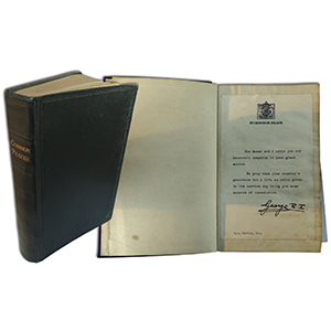George VI Condolence Letter in Book of Prayer