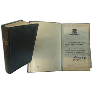 George VI Condolence Letter in Book of Prayer