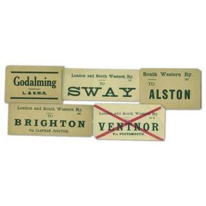20 Old L&SWR Old Railway Luggage Labels