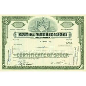 Int. Telephone & Telegraph Share Certificate