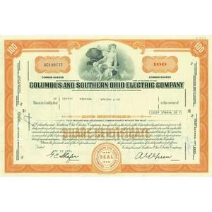 Columbus and Southern Ohio Electric Co. Share Certificate