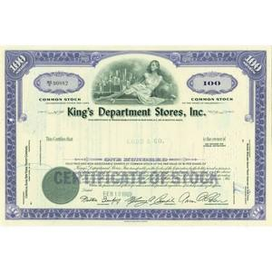 King's Deptartment Stores Share Certificate