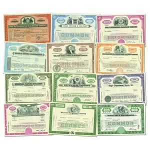 Ten Assorted American Share Certificates