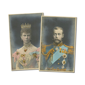2 King George V & Queen Mary Bas Relief Postcards