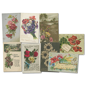 24 Vintage Floral themed Postcards