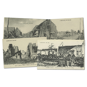 54 vintage French WWI  Somme  bomb damage postcards