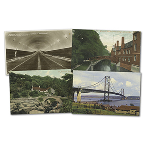 28 vintage Bridges & Tunnels postcards
