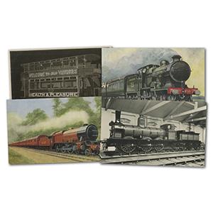 16 vintage Transport postcards