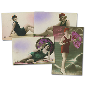 6 Vintage Bathing Belles Postcards