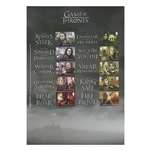 2018 Game of Thrones Collectors Sheet