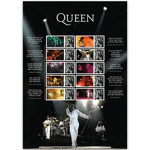2020 Queen Live Collectors Sheet