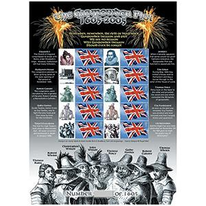 Gunpowder Plot GB Customised Stamp Sheet - History of Britain No. 2