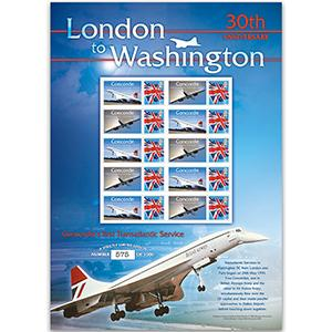 Concorde London - Washington GB Customised Stamp Sheet